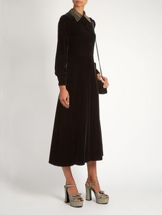 Embellished-collar velvet midi dress | Saint Laurent | MATCHESFASHION.COM