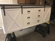 Large Sliding Barn Door Vanity with Drawers