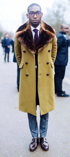 Mustard Yellow Overcoat with Faux Fur Collar, Men's Fall Winter Street Style Fashion.