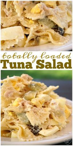 Totally loaded tuna pasta salad is amazing!! Easy to throw together and a perfect side dish for a get together or barbecue. via @thetypicalmom