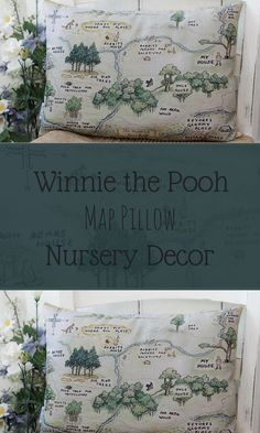 Winnie the Pooh Map Pillow Hundred Acre Wood Classic Pillow in 3 sizes for a classic Pooh Nursery or Winnie the Pooh gift #affiliate #nursery #decor #nurserydecor