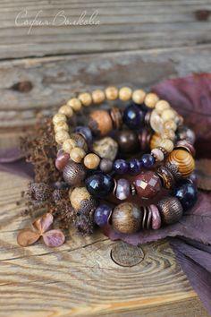 """Купить Браслеты """"Сливовый закат"""" - браслеты, комплект браслетов, набор браслетов, браслеты из камней"""
