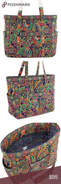 "Vera Bradley Get Carried Away Tote and Ditty bag Retired pattern 18.25"" W x 15.5"" H x 7.5"" D 12.5"" shoulder drop Interior: 6 slip pockets Exterior: 4 slip pockets Cotton Zip closure  Lined Ditty bag  Great for the beach! Never used! Super clean Vera Bradley Bags Totes"
