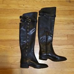 Sam edelman pierce whisky boots sz 7.5 NWOB $300 Black leather over the knee, antique buttons down outside, zipper inside, dual straps around knees. SOLD OUT EVERYWHERE Sam Edelman Shoes Over the Knee Boots
