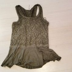 Free People Ombré Olive Sleeveless Top Flower detail on top with loose peplum bottom. Perfect condition Free People Tops