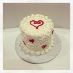 Heart, valentine birthday baby smash cake