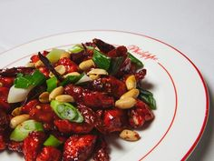 Philippe's kung pao chicken is made with peanuts and a homemade red spicy sauce. Upscale Restaurants, Spicy Sauce, Kung Pao Chicken, Peanuts, Homemade, Ethnic Recipes, Red, Diy Crafts, Do It Yourself