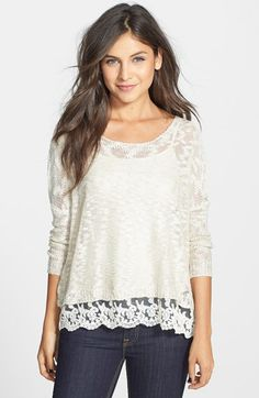 Love By Design Crochet Hem Sweater (Juniors) available at #Nordstrom