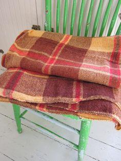 SPRING SALE, Vintage Wool, Stadium Blanket,  Brown, Orange Plaid Throw