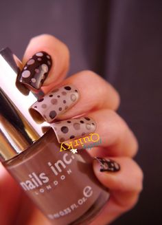 Polka dot nails. A brown dotticure - makes me think of chocolate and coffee