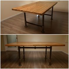 Hand built table with industrial pipe legs. Now on SALE at vibe reclaimed.com