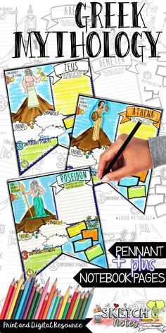 This Greek Mythology Greek Gods learning tool is so much fun and loaded with visuals to boost your Greek Mythology teaching lessons. Students will love their Greek Gods and Goddesses pennant and sketchnotes pages, with the added bonus of accessing the digital resource compatible with Google Drive. English Language Arts   Social Studies - History   Ancient History. Grade Levels 4th, 5th, 6th, 7th, 8th, 9th, 10th, 11th, 12th, Homeschool. Activities, Fun Stuff, Interactive Notebooks…