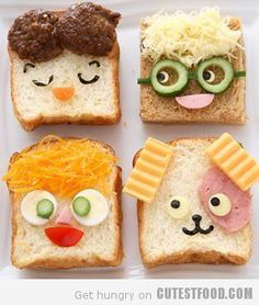 ☮★✿☯ BREAKFAST ✝☯★☮ Food Presentation, Funny Faces, Sandwiches, Baby Food Recipes, Kids Meals, Food To Make, Food Art, Fun Food, Good Food