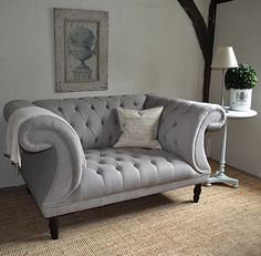 Chesterfield Buttoned Sofa: Grey Button Back Sofa
