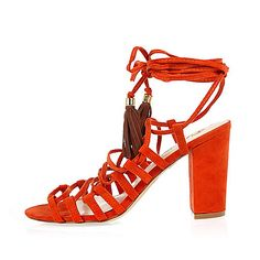 Funky orange lace-up block heel sandals £30 #imwearingri