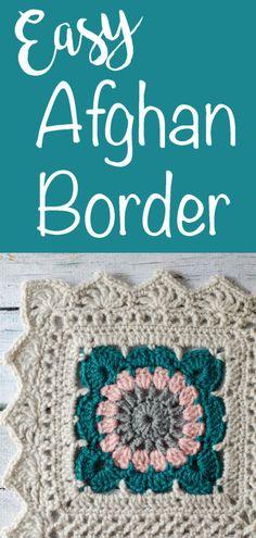 Crochet Afghan Border Happily Ever Afghan Crochet Boarders, Crochet Edging Patterns, Granny Square Crochet Pattern, Crochet Squares, Crochet Motif, Crochet Designs, Crochet Afghans, Afghan Patterns, Granny Squares