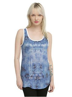 """<p>Racer back tank top from <i>Doctor Who</i> with TARDIS sublimation print design with text that reads """"All Of Time & Space. Where Do You Want To Start?""""</p>  <ul> <li>88% polyester; 7% rayon; 5% spandex</li> <li>Wash cold; dry low</li> <li>Made in USA</li> <li>Listed in junior sizes</li> </ul>"""