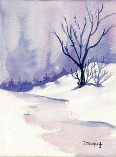 'Cool Winter Landscape' Watercolor Tracee Murphy