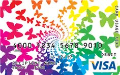 Butterfly Visa Gift Card Butterfly Stretch, Custom Gift Cards, Visa Gift Card, Design Your Own, Rainbow Colors, Summer Fun, Mom, Gifts, Presents