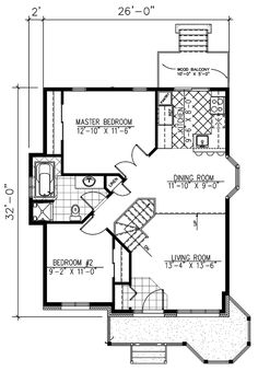 First Floor Plan of Bungalow   Narrow Lot   House Plan 48030