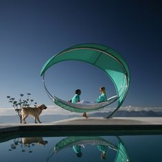 Wave Hammock, designed by Erik Nyberg and Gustav Strom, stands on a single point, giving it its unique floating impression, but the construction can withstand strong forces from people, weather, and wind.