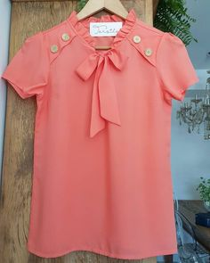 Kurti Neck Designs, Blouse Designs, Modest Outfits, Dress Outfits, White Tshirt Outfit, Shirt Blouses, Shirts, How To Make Clothes, Orange Dress