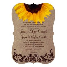 Rustic Country Sunflower Wedding Invitations with die cut bracket shape cutout for a unique look.