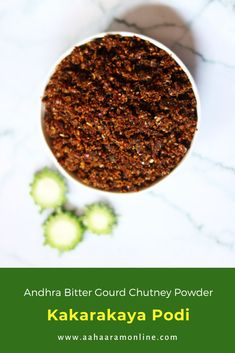 Kakarakaya Podi is the Bitter Gourd Chutney Powder from Andhra Pradesh. We enjoy it with rice and ghee, but you can also eat it with Idli. #vegan #vegetarian #recipe #indianfood Andhra Recipes, Indian Food Recipes, Vegan Vegetarian, Vegetarian Recipes, Podi Recipe, Eat Happy, Chutney Recipes, Tamarind, Spice Mixes