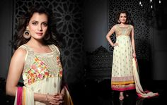 USD 66.66 Dia Mirza Cream Georgette Bollywood Suit 44968
