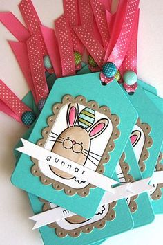 Personalized Easter Tags by Heather Nichols for Papertrey Ink (March 2014)
