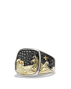 David Yurman  Waves Signet Ring with 18K Gold and Black Diamonds