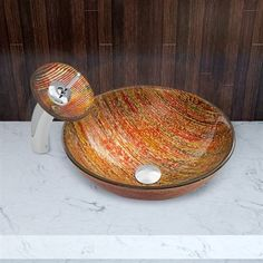 Pazo Blazing Fire Glass Vessel Sink and Waterfall Faucet Set