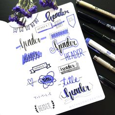 32 Stunning Bullet Journal Header and Title Ideas - Beautiful Dawn Designs Bullet Journal Headers And Banners, Bullet Journal Banner, Bullet Journal School, Bullet Journal Notebook, Bullet Journal Writing Styles, Bullet Journal Headings, Bullet Journal Reading List, Borders Bullet Journal, Bullet Journal Title Page