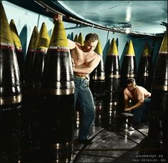 Ordnance men moving a shell from its storage stall to ammunition hoist on board the Iowa Class Battleship USS New Jersey Nov calibre Mark 7 gun Naval History, Military History, Uss Iowa, Us Battleships, Us Navy Ships, Tiger Ii, Big Guns, United States Navy, Military Weapons