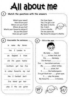 English as a Second Language (ESL) Interactive worksheets English Worksheets For Kids, English Lessons For Kids, English Activities, English Resources, Free Worksheets, Education English, Teaching English, Learn English, English Time