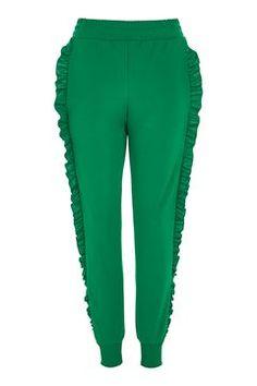 Green Ruffle Joggers