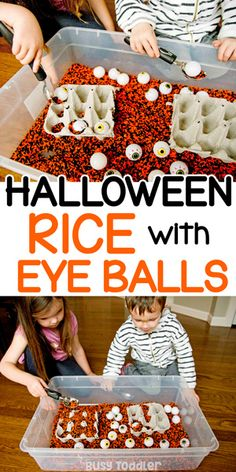 Halloween Rice Bin with Eye Balls: A quick and easy Halloween sensory activity from Busy Toddler A quick and easy Halloween sensory bin using colored rice and dollar store supplies. A fun sensory activity for toddlers and preschoolers from Busy Toddler. Sensory Activities Toddlers, Halloween Activities For Kids, Sensory Bins, Autumn Activities, Toddler Preschool, Sensory Play, Toddler Halloween Crafts, Fall Sensory Bin, Sensory Table