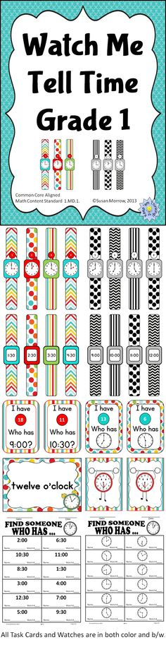 The kiddos love wearing these watches! Great for teaching First graders to tell time to the hour and half hour!