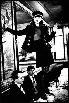 Kate Moss at Cafe Lipp, Paris, VOGUE Italia Arthur Elgort  1993