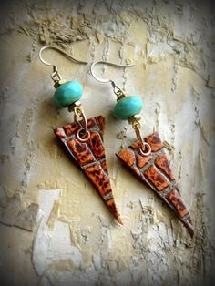 Handmade Leather Jewelry Earrings Autumn by SmitherineDesigns, $25.00