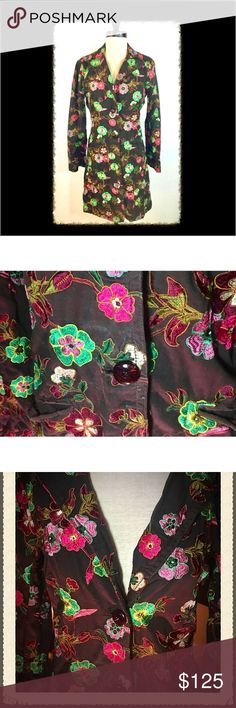 """""""Johnny Was"""" embroidered floral coat ⚜️Classic Cali:  Hendrix & the Haight meet Neiman Marcus on Rodeo. Johnny Was is the epitome of laid back Cali chic, and this delicately embroidered floral coat in chocolate, pink, magenta and green is beyond Boho ... it's pure flower power! Very good condition, seldom worn but much loved. ⚜️ Johnny Was Jackets & Coats Pea Coats"""