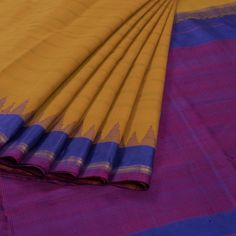 Venkie Reddy Handwoven Gadwal Kuttu Cotton Saree With Stripes & Temple Border 10008733 - AVISHYA.COM