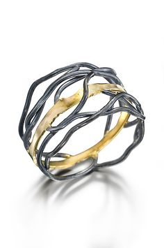 Rooted ring: Beverly Tadeu: Gold and Silver Ring - Artful Home