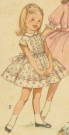 d0fa27a223279204ef69f68b1a01ce14 #VintageKidsFashion Sewing Patterns Girls, Vintage Dress Patterns, Simplicity Sewing Patterns, Doll Clothes Patterns, Pattern Sewing, Pattern Dress, Pants Pattern, Vintage Kids Fashion, Vintage Children