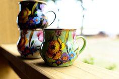 enamel coffee cups, floral prints, DSC_1744 by Ree Drummond / The Pioneer Woman, via Flickr