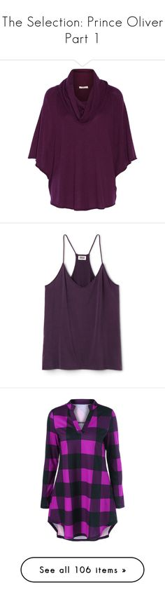 """""""The Selection: Prince Oliver Part 1"""" by t0-the-stars ❤ liked on Polyvore featuring art, tops, sweaters, violet, loose fitting tops, purple cowl neck top, purple sweater, draped cowl neck top, drape top and purple tank top"""