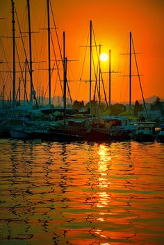 ~~Bodrum on fire   blazing orange sunset and water reflections   by Aylin Kinacioglu~~