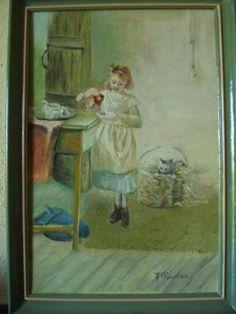 Kitty's Breakfast d'après Emily Farmer - 1999 Tableau Peinture Huile