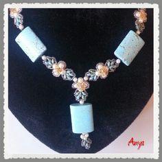 Superduo-tekla and stone beads