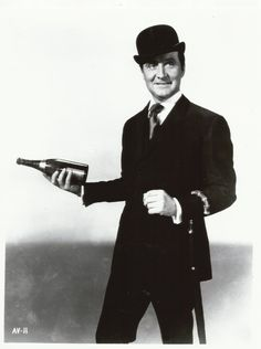 Patrick Macnee as John Steed with his  beverage of choice, champagne - The Avengers